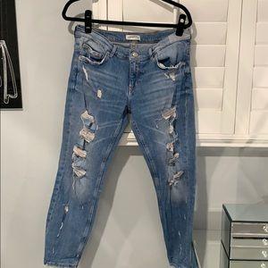 Zara Premium Ripped Boyfriend Jeans